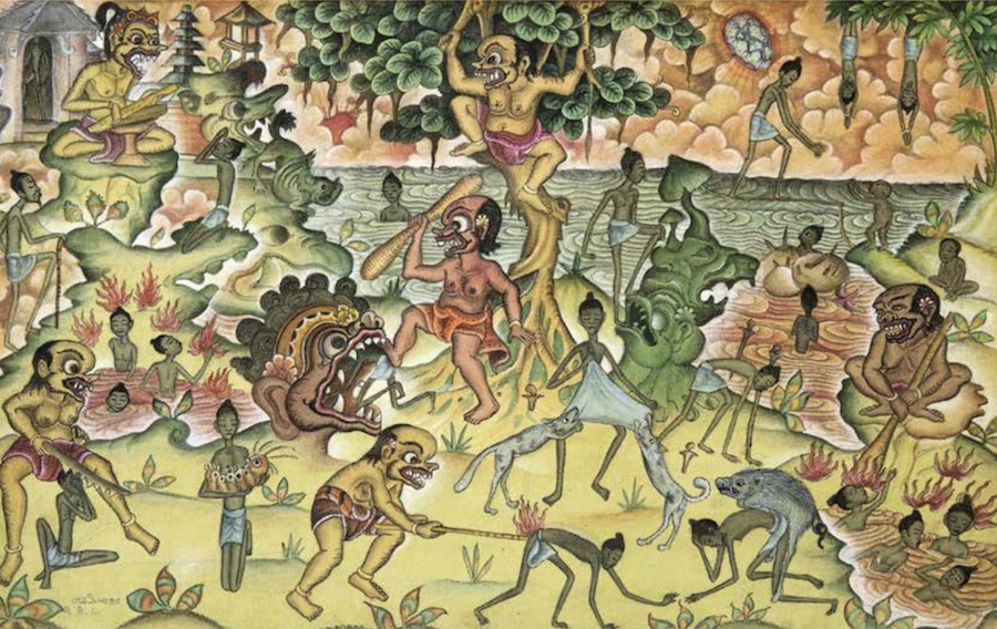 Painting of the Balinese purgatory by Ketut Suweca (1975) Owner Jean Couteau
