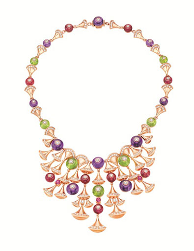 DIVA necklace in pink gold 18K  with diamonds  amethyst  peridot  rubellites and rounds mounted setting pave