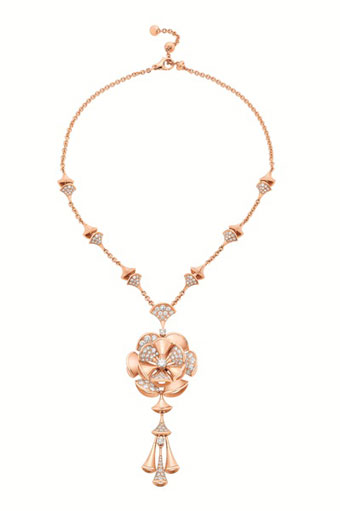 DIVA necklace in pink gold 18K  with diamonds