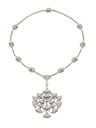 DIVA necklace in white gold 18K  with pave diamonds