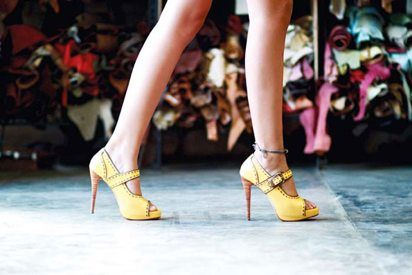 Dewi 138mm Skinny Heel Sunny Yellow and Bronze Leather