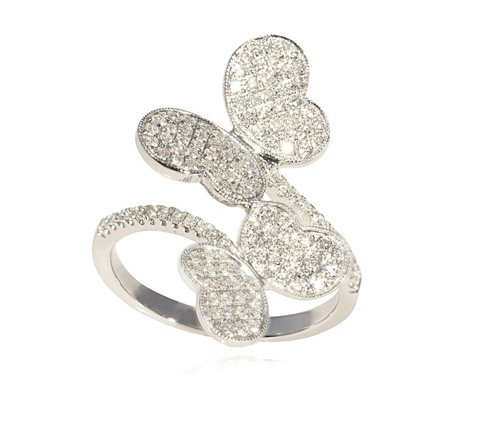 Diamond Double Butterfly Ring_kcil