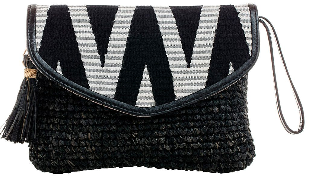 Raffia-Clutch-with-Black-&-White-Rang-Rang-and-Leather-Wrist-Strap