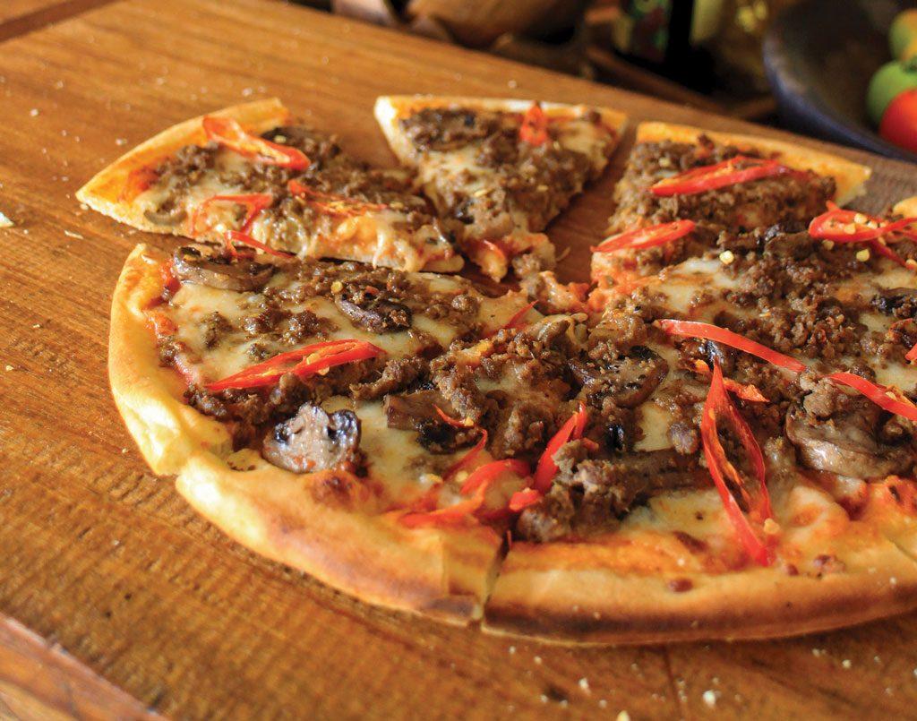 Salsa Verde Beef Rendang Pizza