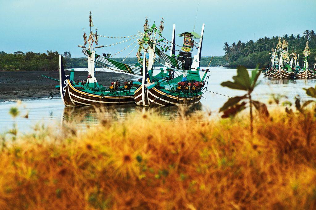 Harbouring fisherman boats at Perancak coastal village