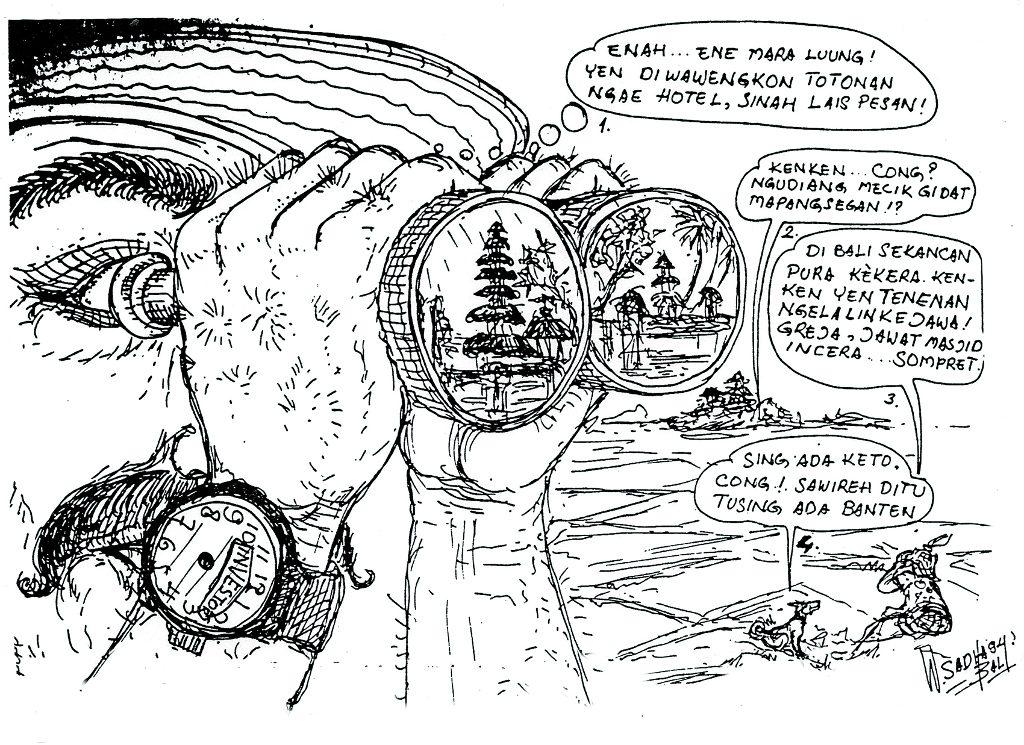 Turis ngeker mau beli tanah. Illustration by Wayan Sadha