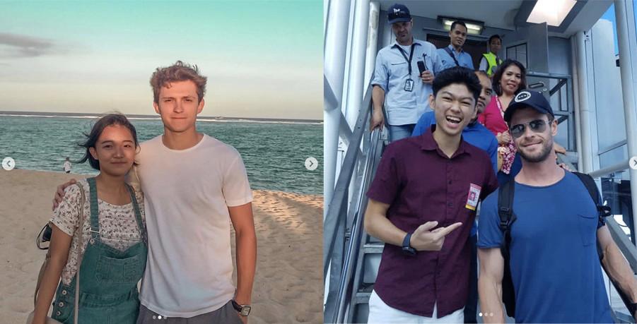 Tom Holland and Chris Hemsworth in Bali 2019