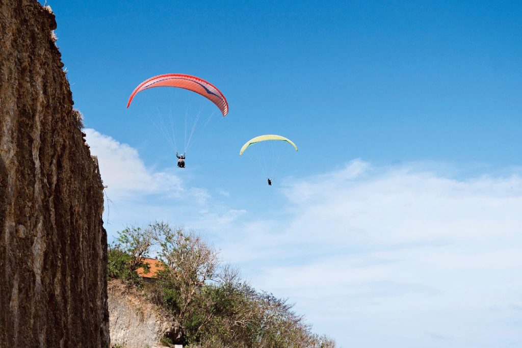 Paraglide From Cliff Above Gunung Payung