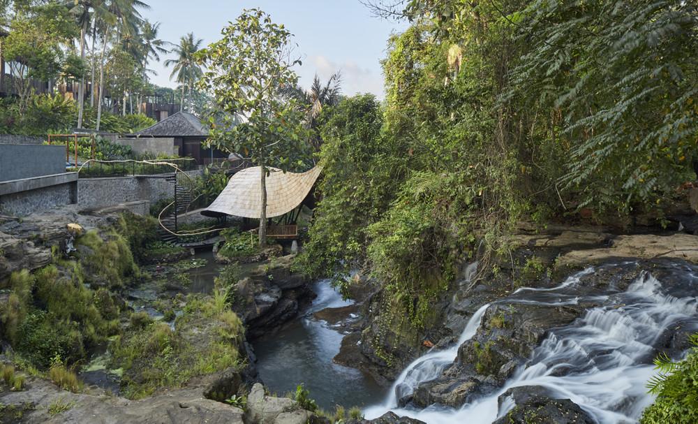 Nirjhara Resort Bali - The Yoga Shala with Waterfall View