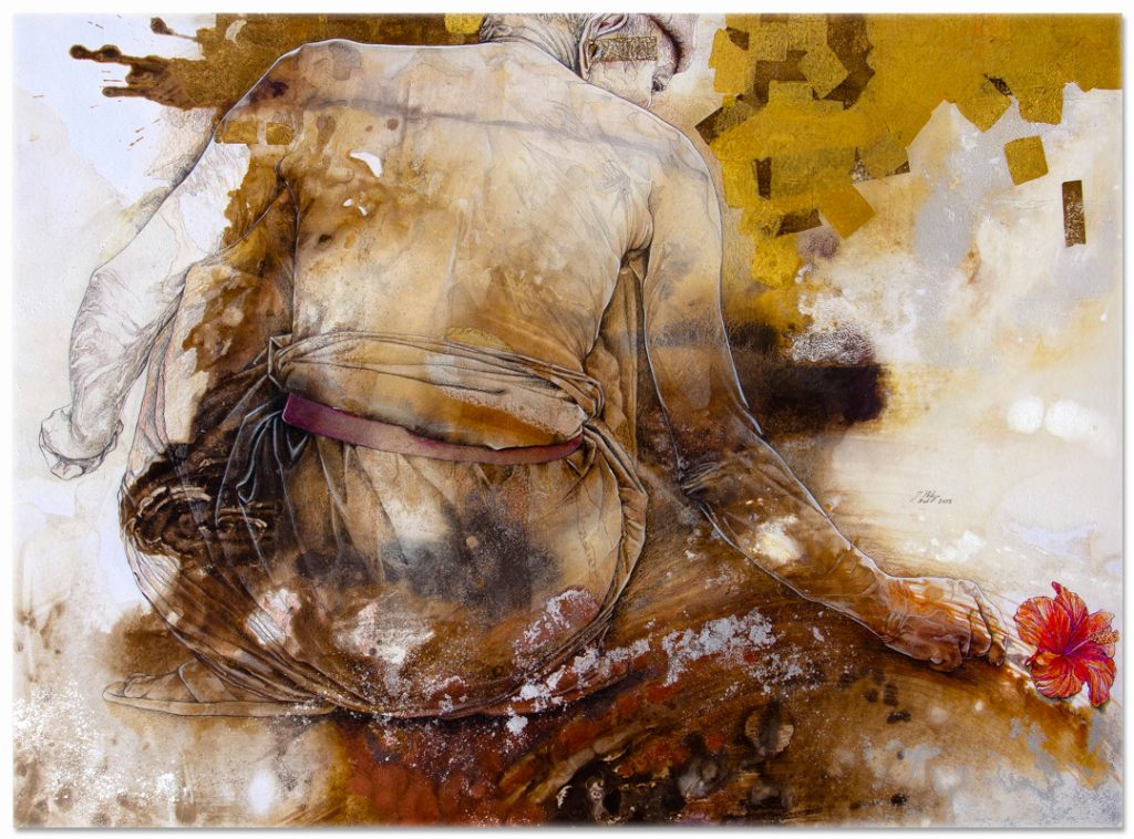 'I've-got-dream-to-remember' 2012 - Jean-Philippe Haure. 42 x 30.7 inches. Gouache, mixed media, silver leaf, on paper laid on canvas. Image J.P Haure