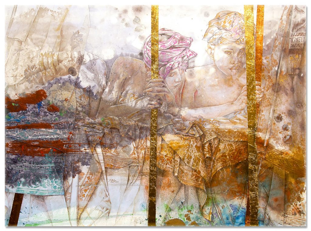 'Waiting-for-the-King' 2018 - Jean-Philippe Haure. 42 x 30.7 inches. Gouache, mixed media, silver leaf, on paper laid on canvas. Image J.P Haure