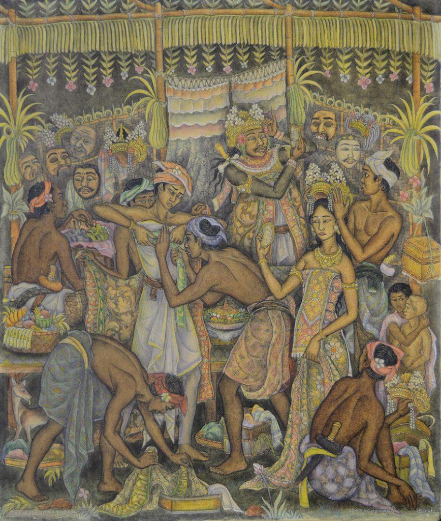Lot 840 'Tari Parembon Tupeng' - Ida Bagus Made Poleng Acrylic on canvas. Image courtesy of Larasati 2